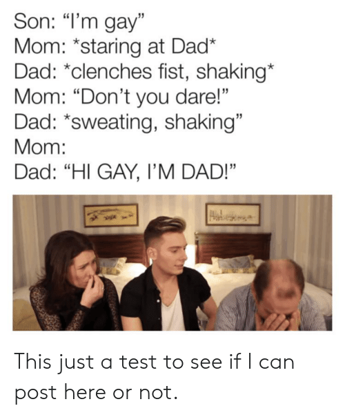 """Dad, Test, and Im Gay: Son: """"I'm gay""""  Mom: *staring at Dad*  Dad: *clenches fist, shaking*  Mom: """"Don't you dare!""""  Dad: *sweating, shaking""""  Mom:  Dad: """"HI GAY, I'M DAD!"""" This just a test to see if I can post here or not."""