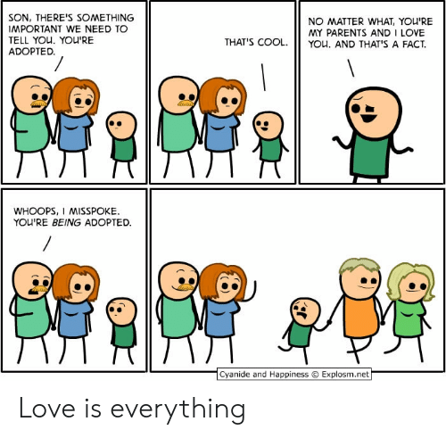 Love, Parents, and I Love You: SON, THERE'S SOMETHING  IMPORTANT WE NEED TO  TELL YOU. YOU'RE  ADOPTED.  NO MATTER WHAT, YOU'RE  MY PARENTS AND I LOVE  YOu. AND THAT'S A FACT  THAT'S COOL.  WHOOPS, I MISSPOKE  YOU'RE BEING ADOPTED  Cyanide and Happiness  Explosm.net Love is everything