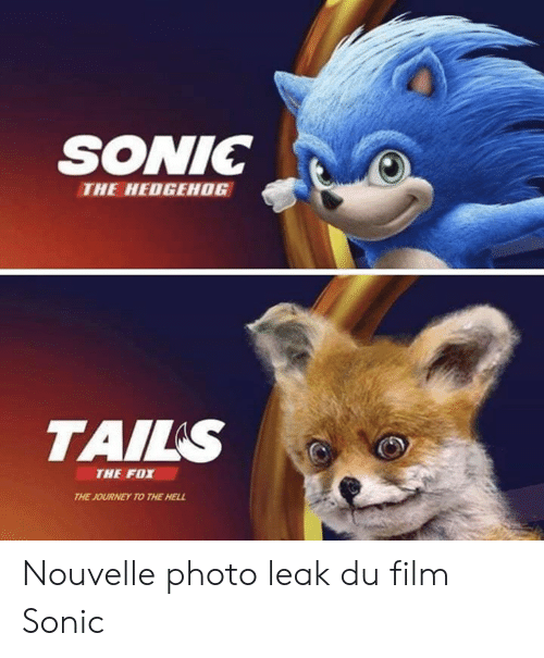 Journey, Memes, and Sonic the Hedgehog: SONIC  THE HEDGEHOG  TAILS  THE FOX  THE JOURNEY TO THE HELL Nouvelle photo leak du film Sonic