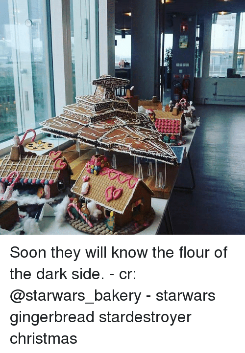 Christmas, Memes, and Soon...: Soon they will know the flour of the dark side. - cr: @starwars_bakery - starwars gingerbread stardestroyer christmas