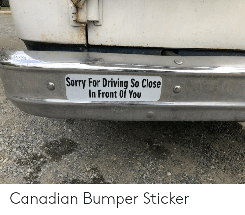 so close: Sorry For Driving So Close  In Front Of You Canadian Bumper Sticker