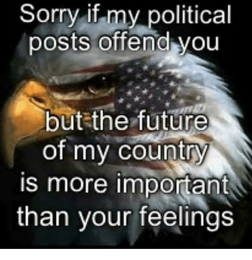 Future, Memes, and Sorry: Sorry if my political  posts offend you  but the future  of my country  is more important  than your feelings
