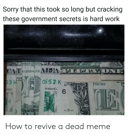 Cracking: Sorry that this took so long but cracking  these government secrets is hard work  ONE  CAT eIRLS INAREA  NDER  D PRI  0557 K  03 H  TRUST  GTSHIC  6  D.C  iordsrufus  FW B103  64 How to revive a dead meme