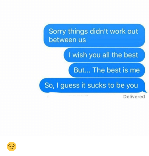 Funny, Sorry, and Work: Sorry things didn't work out  between us  I wish you all the best  But... The best is me  So, I guess it sucks to be you  Delivered 😏