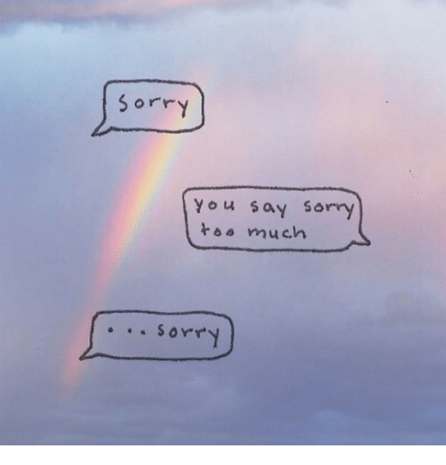 Sorry, You, and  Say: sorry  You say sorry  t much