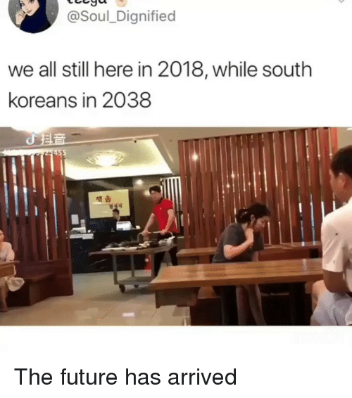 Future, Memes, and 🤖: @Soul_Dignified  we all still here in 2018, while south  koreans in 2038  채움 The future has arrived