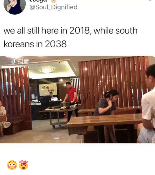 Girl Memes, Soul, and All: @Soul_Dignified  we all still here in 2018, while south  koreans in 2038  책움 😳🤯