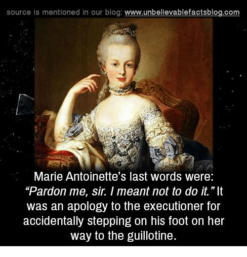 """executioner: source Is mentioned In our blog  www.unbelievablefactsblog.com  Marie Antoinette's last words were:  """"Pardon me, sir. meant not to do it.""""It  was an apology to the executioner for  accidentally stepping on his foot on her  way to the guillotine."""