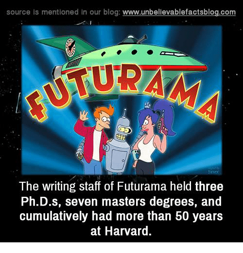 Memes, Blog, and Futurama: source Is mentioned In our blog  www.unbelievablefactsblog.com  The writing staff of Futurama held three  Ph.D.s, seven masters degrees, and  cumulatively had more than 50 years  at Harvard.