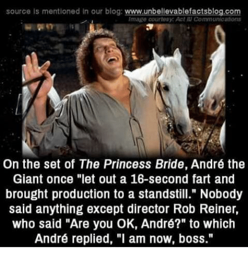 """princess bride: source is mentioned In our blog: www.unbellevablefactsblog.com  Image courtesy: Act แเ Communications  On the set of The Princess Bride, André the  Giant once """"let out a 16-second fart and  brought production to a standstill."""" Nobody  said anything except director Rob Reiner,  who said """"Are you OK, André?"""" to which  André replied, """"l am now, boss."""""""