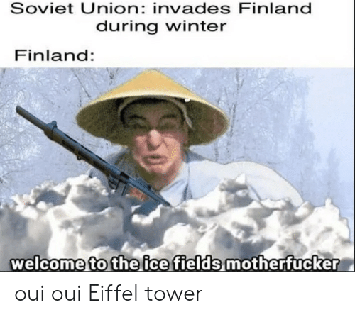 Winter, Eiffel Tower, and Soviet: Soviet Union: invades Finland  during winter  Finland:  welcome to the ice fields motherfucker oui oui Eiffel tower