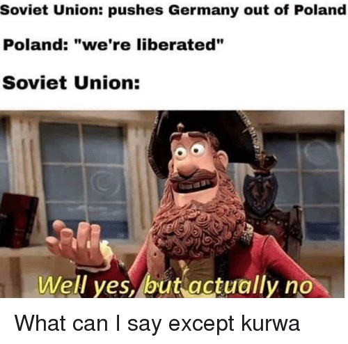 """Germany, History, and Poland: Soviet Union: pushes Germany out of Poland  Poland: """"we're liberated""""  Soviet Union:  1  Well ves, but actually no"""