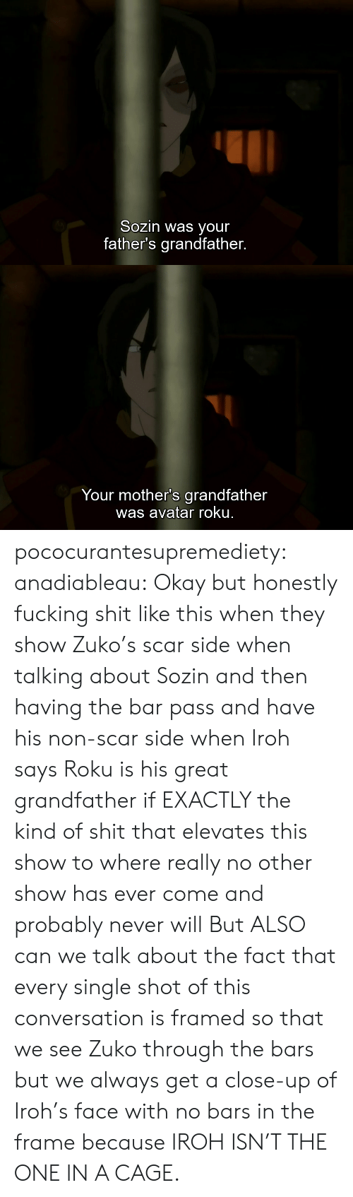 cage: Sozin was your  father's grandfather.   Your mother's grandfather  was avatar roku. pococurantesupremediety: anadiableau: Okay but honestly fucking shit like this when they show Zuko's scar side when talking about Sozin and then having the bar pass and have his non-scar side when Iroh says Roku is his great grandfather if EXACTLY the kind of shit that elevates this show to where really no other show has ever come and probably never will But ALSO can we talk about the fact that every single shot of this conversation is framed so that we see Zuko through the bars but we always get a close-up of Iroh's face with no bars in the frame because IROH ISN'T THE ONE IN A CAGE.
