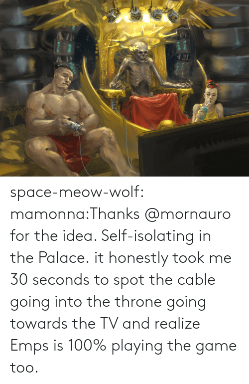 playing: space-meow-wolf:  mamonna:Thanks @mornauro for the idea. Self-isolating in the Palace. it honestly took me 30 seconds to spot the cable going into the throne going towards the TV and realize Emps is 100% playing the game too.