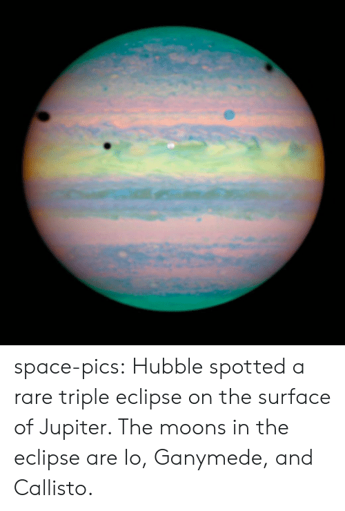 Tumblr, Blog, and Eclipse: space-pics:  Hubble spotted a rare triple eclipse on the surface of Jupiter. The moons in the eclipse are Io, Ganymede, and Callisto.