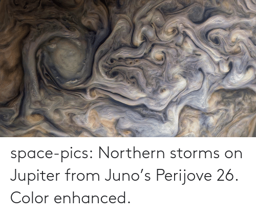 Space: space-pics:  Northern storms on Jupiter from Juno's Perijove 26. Color enhanced.