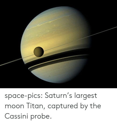 captured: space-pics:  Saturn's largest moon Titan, captured by the Cassini probe.
