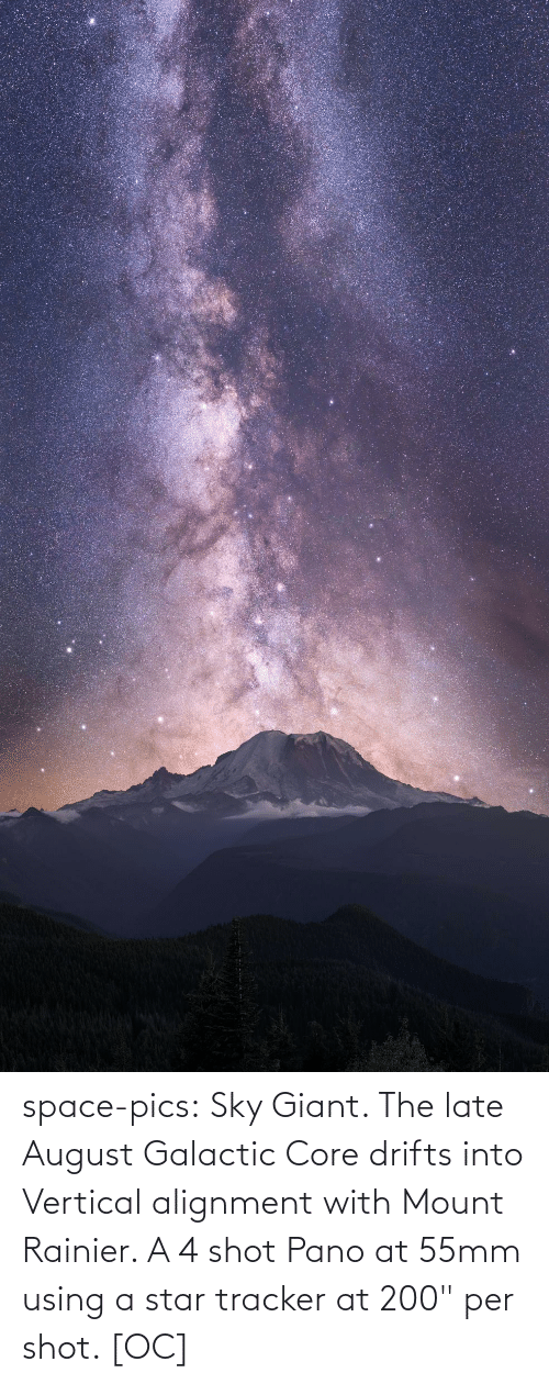 "pics: space-pics:  Sky Giant. The late August Galactic Core drifts into Vertical alignment with Mount Rainier. A 4 shot Pano at 55mm using a star tracker at 200"" per shot. [OC]"