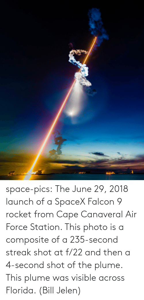Tumblr, Air Force, and Blog: space-pics:  The June 29, 2018 launch of a SpaceX Falcon 9 rocket from Cape Canaveral Air Force Station. This photo is a composite of a 235-second streak shot at f/22 and then a 4-second shot of the plume. This plume was visible across Florida. (Bill Jelen)