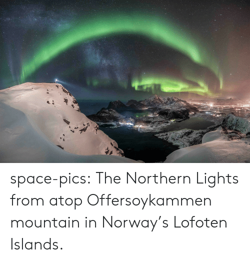 Tumblr, Blog, and Norway: space-pics:  The Northern Lights from atop Offersoykammen mountain in Norway's Lofoten Islands.