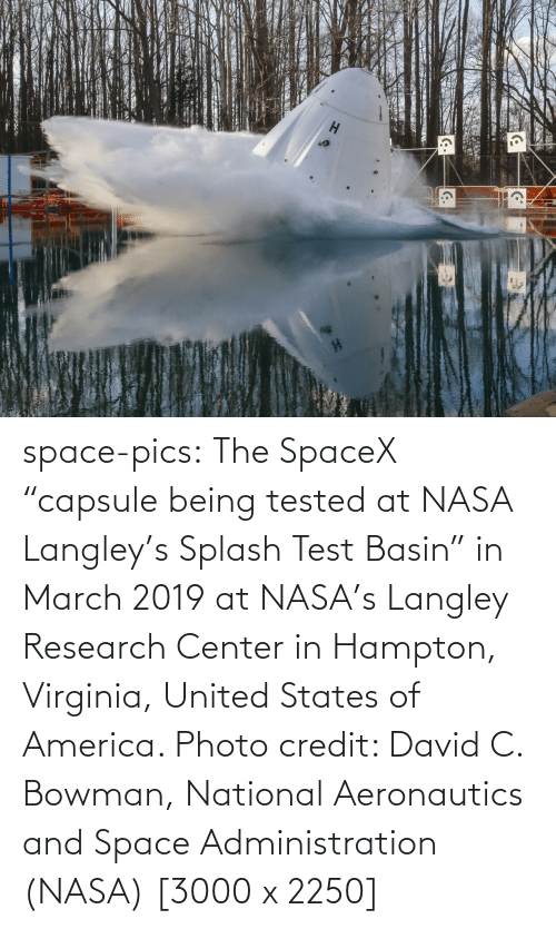 "Space: space-pics:  The SpaceX ""capsule being tested at NASA Langley's Splash Test Basin"" in March 2019 at NASA's Langley Research Center in Hampton, Virginia, United States of America. Photo credit: David C. Bowman, National Aeronautics and Space Administration (NASA) [3000 x 2250]"