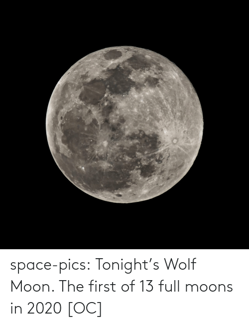 In Class: space-pics:  Tonight's Wolf Moon. The first of 13 full moons in 2020 [OC]