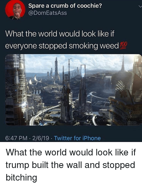 smoking weed: Spare a crumb of coochie?  @DomEatsAss  What the world would look like if  everyone stopped smoking weed  100  6:47 PM 2/6/19 Twitter for iPhone What the world would look like if trump built the wall and stopped bitching