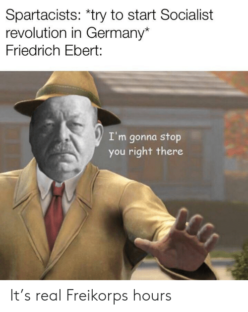 Germany, History, and Revolution: Spartacists: *try to start Socialist  revolution in Germany*  Friedrich Ebert:  I'm gonna stop  you right there It's real Freikorps hours