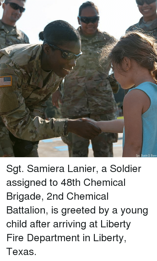 Fire, Memes, and Texas: Spc. Dustin D. Biven Sgt. Samiera Lanier, a Soldier assigned to 48th Chemical Brigade, 2nd Chemical Battalion, is greeted by a young child after arriving at Liberty Fire Department in Liberty, Texas.