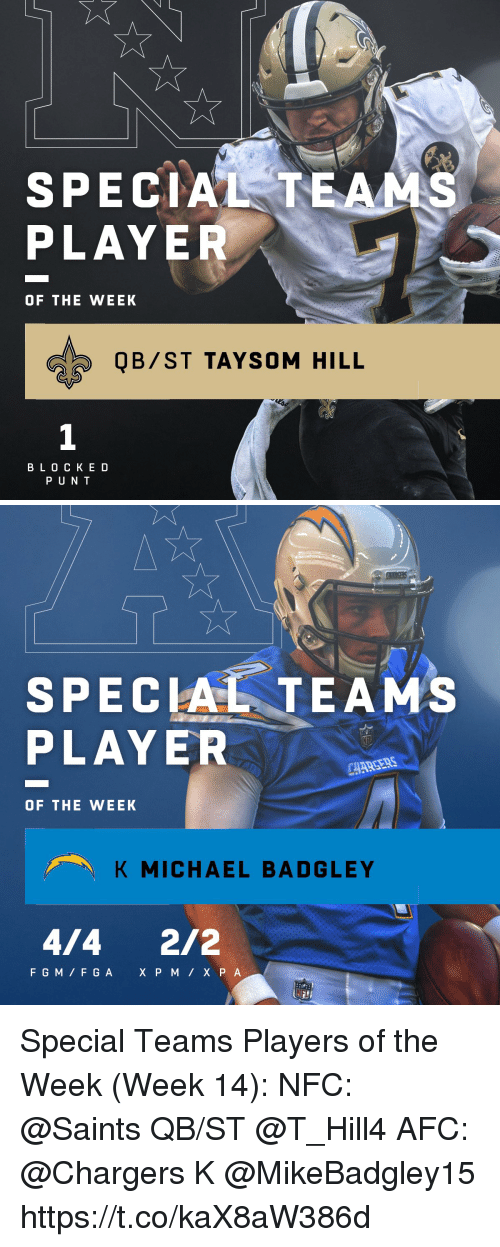 Memes, New Orleans Saints, and Chargers: SPECIAL TEA  PLAYER  OF THE WEEK  QB/ST TAYSOM HILL  1  B L 0 C K E D  P U N T   SPECIAL TEAM'S  PLAYER  OF THE WEEK  K MICHAEL BADGLEY  4/4 2/2 Special Teams Players of the Week (Week 14):  NFC: @Saints QB/ST @T_Hill4  AFC: @Chargers K @MikeBadgley15 https://t.co/kaX8aW386d