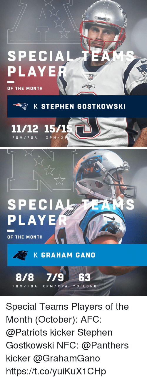 Memes, Patriotic, and Stephen: SPECIALTE  PLAYE  PATRIOTS  OF THE MONTH  K STEPHEN GOSTKOWSK  11/12 15/1S  F GM F G A   SPECIA  PLAYE  OF THE MONTH  K GRAHAM GANO  8/8 7/963 Special Teams Players of the Month (October):  AFC: @Patriots kicker Stephen Gostkowski NFC: @Panthers kicker @GrahamGano https://t.co/yuiKuX1CHp
