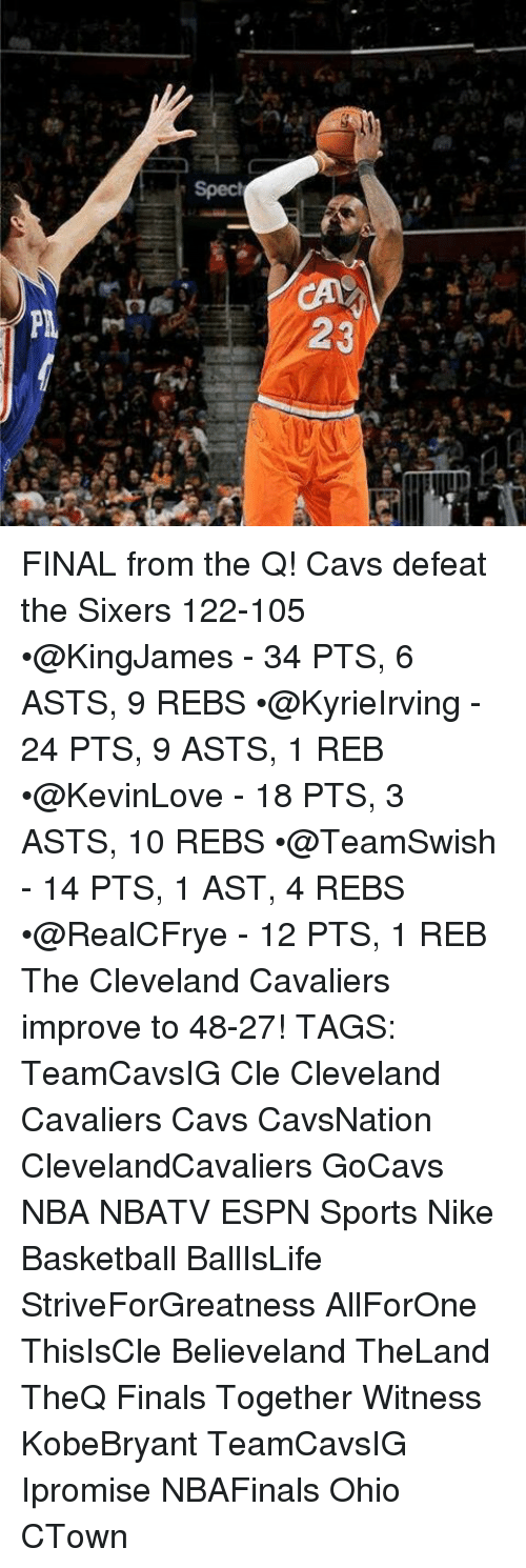 spect: Spect  23 FINAL from the Q! Cavs defeat the Sixers 122-105 •@KingJames - 34 PTS, 6 ASTS, 9 REBS •@KyrieIrving - 24 PTS, 9 ASTS, 1 REB •@KevinLove - 18 PTS, 3 ASTS, 10 REBS •@TeamSwish - 14 PTS, 1 AST, 4 REBS •@RealCFrye - 12 PTS, 1 REB The Cleveland Cavaliers improve to 48-27! TAGS: TeamCavsIG Cle Cleveland Cavaliers Cavs CavsNation ClevelandCavaliers GoCavs NBA NBATV ESPN Sports Nike Basketball BallIsLife StriveForGreatness AllForOne ThisIsCle Believeland TheLand TheQ Finals Together Witness KobeBryant TeamCavsIG Ipromise NBAFinals Ohio CTown