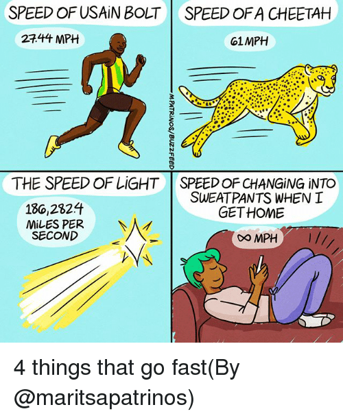 Bilbo, Memes, and Usain Bolt: SPEED OF USAIN BOLT  SPEED OFA CHEETAH  27.44 MPH  61MPH  THE SPEED OF LiGHT  SPEED OF CHANGING iNTO  SWEATPANTS WHENI  GETHOME  186,282升  MiLES PER  SECOND  0O MPH I// 4 things that go fast(By @maritsapatrinos)