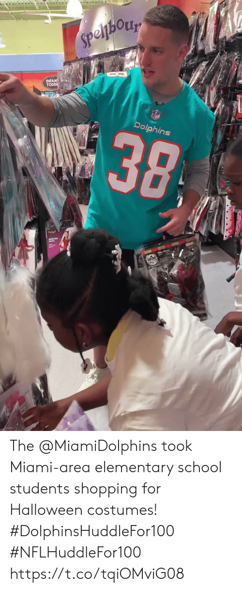 Costumes: Speljhory  INFANT  TODDI  alic  38  Dolphins The @MiamiDolphins took Miami-area elementary school students shopping for Halloween costumes! #DolphinsHuddleFor100 #NFLHuddleFor100 https://t.co/tqiOMviG08
