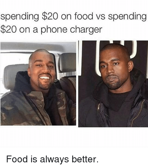Phone Charger: spending $20 on food vs spending  $20 on a phone charger Food is always better.