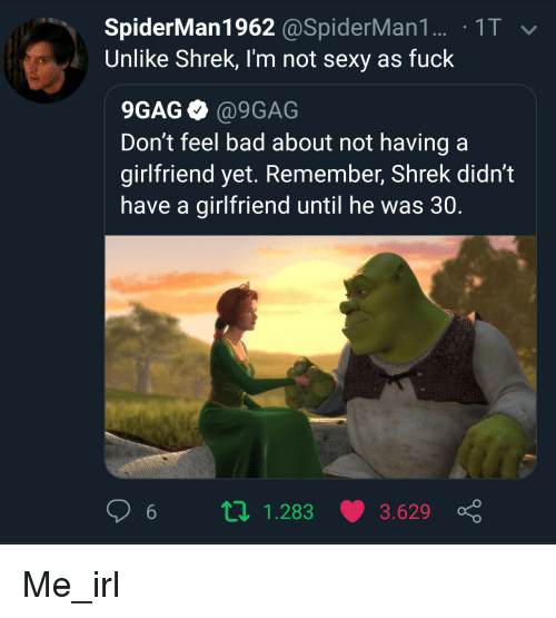 Sexy As Fuck: SpiderMan1962 @SpiderMan1. 1T  Unlike Shrek, I'm not sexy as fuck  9GAG @9GAG  Don't feel bad about not having a  girlfriend yet. Remember, Shrek didn't  have a girlfriend until he was 30.  6 п 1.283 3.629 ç Me_irl