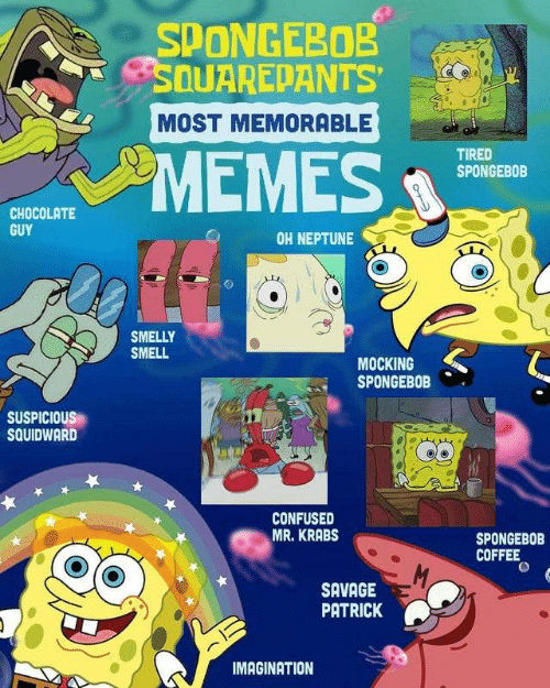 """Confused, Mr. Krabs, and Savage: SPONGEBOB  SDUAREPANTS  MOST MEMORABLE  """"МЕMES.  TIRED  SPONGEBOB  CHOCOLATE  GUY  OH NEPTUNE  SMELLY  SMELL  MOCKING  SPONGEBOB  SUSPICIOUS  SQUIDWARD  CONFUSED  MR. KRABS  SPONGEBOB  COFFEE  M  SAVAGE  PATRICK  IMAGINATION"""
