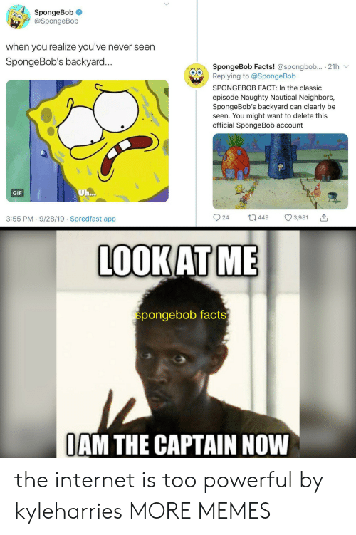 Dank, Facts, and Gif: SpongeBob  @SpongeBob  when you realize you've never seen  SpongeBob's backyard...  SpongeBob Facts! @spongbob.. 21h  Replying to @SpongeBob  SPONGEBOB FACT: In the classic  episode Naughty Nautical Neighbors,  SpongeBob's backyard can clearly be  seen. You might want to delete this  official SpongeBob account  Uh...  GIF  3,981  3:55 PM 9/28/19 Spredfast app  t2449  24  .  LOOKAT ME  spongebob facts  OAM THE CAPTAIN NOW the internet is too powerful by kyleharries MORE MEMES