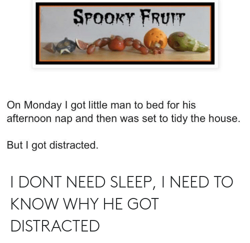 Reddit, House, and Monday: SPOOKY FRUIT  On Monday I got little man to bed for his  afternoon nap and then was set to tidy the house.  But I got distracted I DONT NEED SLEEP, I NEED TO KNOW WHY HE GOT DISTRACTED