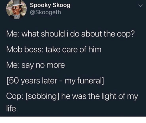 Life, Say No More, and Spooky: Spooky Skoog  @Skoogeth  Me: what should i do about the cop?  Mob boss: take care of him  Me: say no more  [50 years later - my funeral]  Cop: [sobbing] he was the light of my  life.
