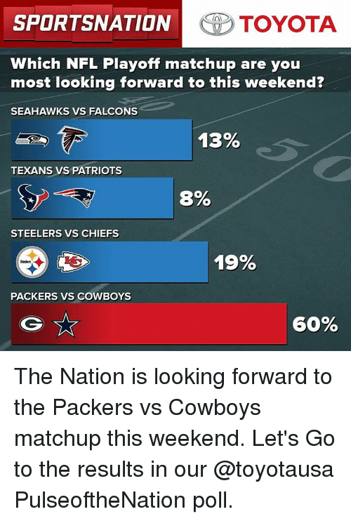 NFL playoffs: SPORTSNATION TOYOTA  Which NFL Playoff matchup are you  most looking forward to this weekend?  SEAHAWKS VS FALCONS  13%  TEXANS VS PATRIOTS  8%  STEELERS VS CHIEFS  19%  PACKERS VS COWBOYS  60% The Nation is looking forward to the Packers vs Cowboys matchup this weekend. Let's Go to the results in our @toyotausa PulseoftheNation poll.