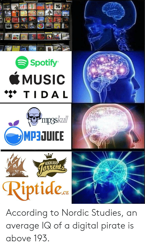 Reddit, Tidal, and Spotify: Spotify  SMUSIC  ◆◆◆ TIDAL  KICKASS  Riptide., According to Nordic Studies, an average IQ of a digital pirate is above 193.
