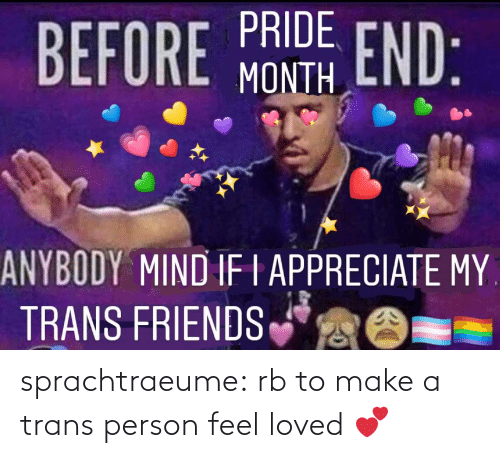 person: sprachtraeume:  rb to make a trans person feel loved 💕