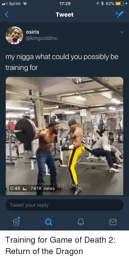 Blackpeopletwitter, Funny, and My Nigga: Sprint  17:29  Tweet  osiris  @kingcoldinc  my nigga what could you possibly be  training for  0:46l. 741K views  Tweet your reply Training for Game of Death 2: Return of the Dragon