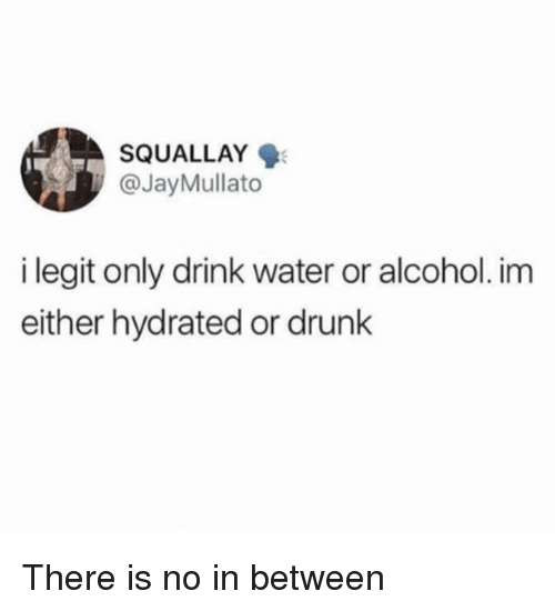 Dank, Drunk, and Alcohol: SQUALLAY  @JayMullato  i legit only drink water or alcohol. im  either hydrated or drunk There is no in between