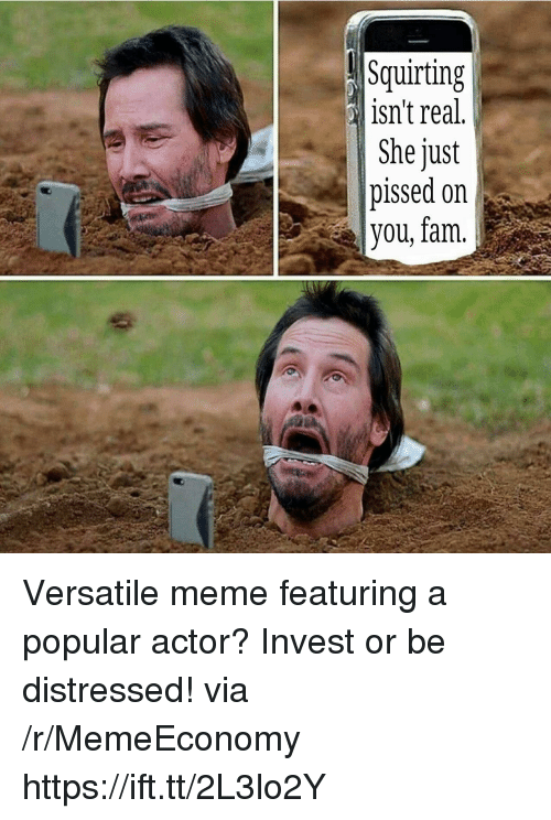 Fam, Meme, and Invest: Squirting  isn't real  She just  pissed on  you, fam. Versatile meme featuring a popular actor? Invest or be distressed! via /r/MemeEconomy https://ift.tt/2L3lo2Y