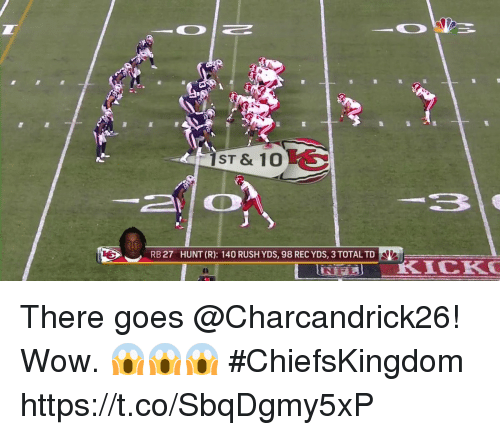 Memes, Wow, and Rush: ST & 10  RB 27  HUNT (R): 140 RUSH YDS, 98 REC YDS, 3 TOTAL TD There goes @Charcandrick26!  Wow. 😱😱😱 #ChiefsKingdom https://t.co/SbqDgmy5xP