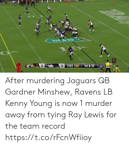 Ray Lewis, Sports, and Ravens: st&IO  13  7:03 2ND  1st & 10  WBALTV After murdering Jaguars QB Gardner Minshew, Ravens LB Kenny Young is now 1 murder away from tying Ray Lewis for the team record https://t.co/rFcnWfiioy