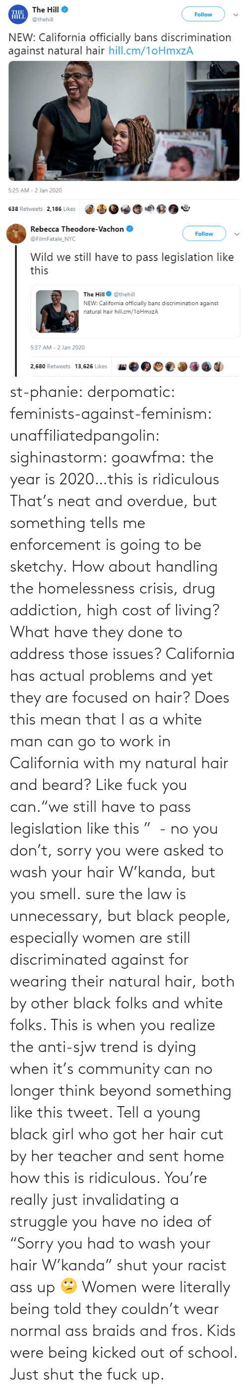 "idea: st-phanie:  derpomatic:  feminists-against-feminism:  unaffiliatedpangolin:  sighinastorm:   goawfma: the year is 2020…this is ridiculous That's neat and overdue, but something tells me enforcement is going to be sketchy.    How about handling the homelessness crisis, drug addiction, high cost of living? What have they done to address those issues? California has actual problems and yet they are focused on hair?  Does this mean that I as a white man can go to work in California with my natural hair and beard?  Like fuck you can.""we still have to pass legislation like this ""  - no you don't, sorry you were asked to wash your hair W'kanda, but you smell.    sure the law is unnecessary, but black people, especially women are still discriminated against for wearing their natural hair, both by other black folks and white folks. This is when you realize the anti-sjw trend is dying when it's community can no longer think beyond something like this tweet. Tell a young black girl who got her hair cut by her teacher and sent home how this is ridiculous. You're really just invalidating a struggle you have no idea of   ""Sorry you had to wash your hair W'kanda"" shut your racist ass up 🙄 Women were literally being told they couldn't wear normal ass braids and fros. Kids were being kicked out of school. Just shut the fuck up."