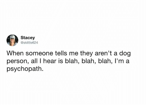 Dank, 🤖, and Dog: Stacey  @skittle624  When someone tells me they aren't a dog  person, all I hear is blah, blah, blah, l'm a  psychopath.